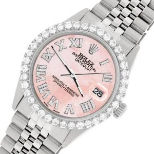 Rolex Datejust 36MM Steel Watch with 3.3CT Diamond Bezel/Royal Pink Diamond Roman Dial