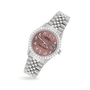 Rolex Datejust 36MM Steel Watch with 3.35CT Diamond Bezel/Salmon Diamond Arabic Dial