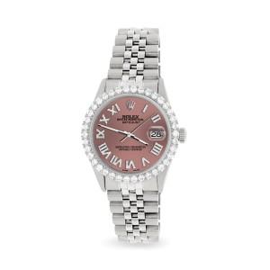 Rolex Datejust 36MM Steel Watch with 3.3CT Diamond Bezel/Salmon Diamond Roman Dial