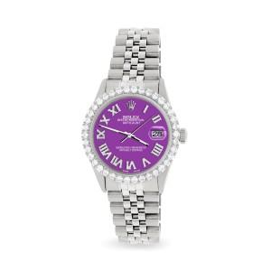 Rolex Datejust 36MM Steel Watch with 3.3CT Diamond Bezel/Sangria Diamond Roman Dial