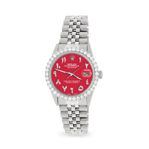 Rolex Datejust 36MM Steel Watch with 3.35CT Diamond Bezel/Scarlet Red Diamond Arabic Dial
