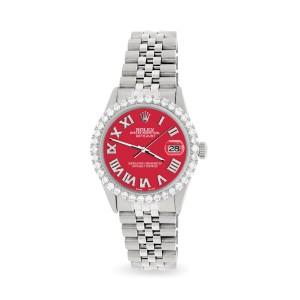 Rolex Datejust 36MM Steel Watch with 3.3CT Diamond Bezel/Scarlet Red Diamond Roman Dial