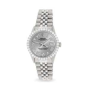 Rolex Datejust 36MM Steel Watch with 3.3CT Diamond Bezel/Silver Diamond Roman Dial