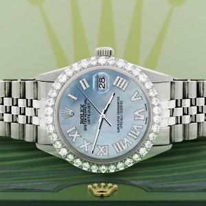 Rolex Datejust 36MM Steel Watch with 3.3CT Diamond Bezel/Sky Blue MOP Diamond Roman Dial