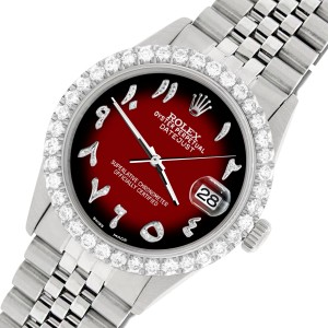 Rolex Datejust 36MM Steel Watch with 3.35CT Diamond Bezel/Vignette Red Black Diamond Arabic Dial