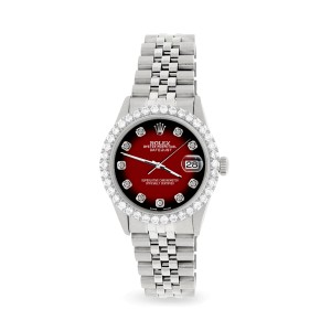 Rolex Datejust 36MM Steel Watch with 3.05Ct Diamond Bezel/Vignette Red Black Diamond Dial