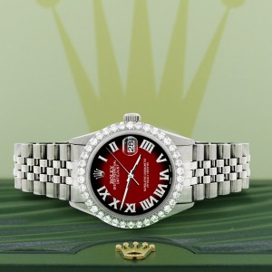 Rolex Datejust 36MM Steel Watch with 3.3CT Diamond Bezel/Vignette Red Black Diamond Roman Dial
