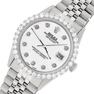 Rolex Datejust 36MM Steel Watch with 3.05Ct Diamond Bezel/White Jubilee Diamond Dial