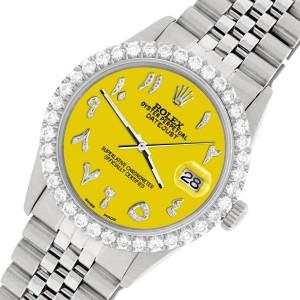 Rolex Datejust 36MM Steel Watch with 3.35CT Diamond Bezel/Yellow Diamond Arabic Dial