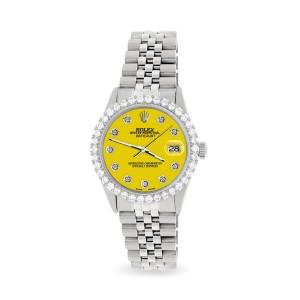 Rolex Datejust 36MM Steel Watch with 3.05Ct Diamond Bezel/Yellow Diamond Dial