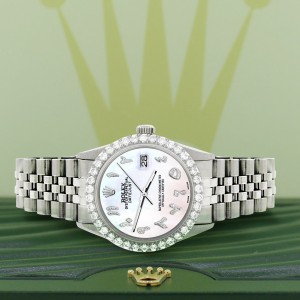 Rolex Datejust 36MM Steel Watch with 3.35CT Diamond Bezel/White Pearl Diamond Arabic Dial