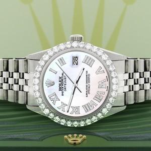 Rolex Datejust 36MM Steel Watch with 3.3CT Diamond Bezel/White Pearl Diamond Roman Dial