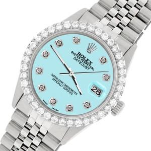 Rolex Datejust 36MM Steel Watch with 3.05Ct Diamond Bezel/Green MOP Diamond Dial