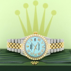 Rolex Datejust 36mm 2-Tone WATCH with 3.10ct Diamond Bezel/Aqua Blue Diamond Roman Dial