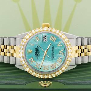 Rolex Datejust 36mm 2-Tone WATCH with 3.10ct Diamond Bezel/Aquamarine Blue Diamond Roman Dial