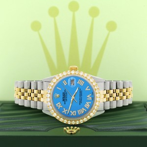 Rolex Datejust 36mm 2-Tone WATCH with 3.10ct Diamond Bezel/Blue Diamond Roman Dial