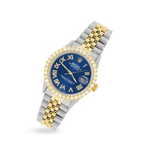 Rolex Datejust 36mm 2-Tone WATCH with 3.10ct Diamond Bezel/Cobalt Blue Diamond Roman Dial