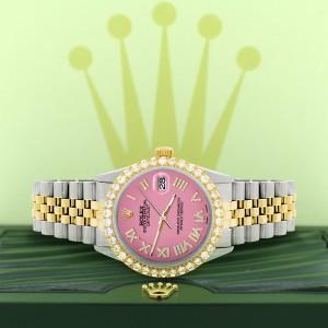 Rolex Datejust 36mm 2-Tone WATCH with 3.10ct Diamond Bezel/Hot Pink Diamond Roman Dial