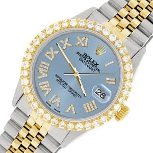 Rolex Datejust 36mm 2-Tone WATCH with 3.10ct Diamond Bezel/Ice Blue Diamond Roman Dial