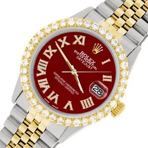Rolex Datejust 36mm 2-Tone WATCH with 3.10ct Diamond Bezel/Imperial Red Diamond Roman Dial