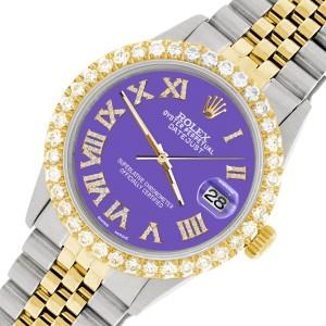 Rolex Datejust 36mm 2-Tone WATCH with 3.10ct Diamond Bezel/Lavender Diamond Roman Dial