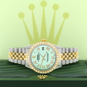 Rolex Datejust 36mm 2-Tone WATCH with 3.10ct Diamond Bezel/Light Malachite Diamond Roman Dial