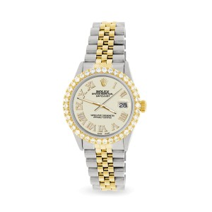 Rolex Datejust 36mm 2-Tone WATCH with 3.10ct Diamond Bezel/Linen White Diamond Roman Dial