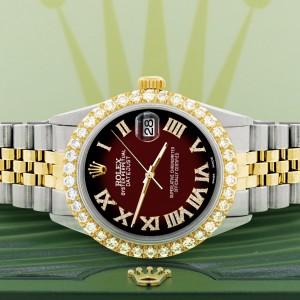 Rolex Datejust 36mm 2-Tone WATCH with 3.10ct Diamond Bezel/Maroon Vignette Diamond Roman Dial