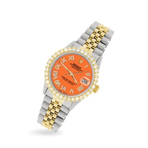 Rolex Datejust 36mm 2-Tone WATCH with 3.10ct Diamond Bezel/Pastel Orange Diamond Roman Dial