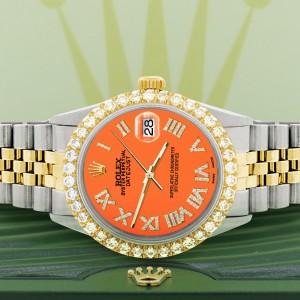 Rolex Datejust 36mm 2-Tone WATCH with 3.10ct Diamond Bezel/Pastel Orange Diamond Roman Dial