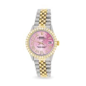 Rolex Datejust 36mm 2-Tone WATCH with 3.10ct Diamond Bezel/Pink Flower Diamond Roman Dial