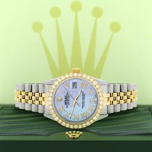 Rolex Datejust 36mm 2-Tone WATCH with 3.10ct Diamond Bezel/Purple MOP Diamond Roman Dial