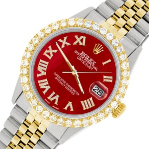 Rolex Datejust 36mm 2-Tone WATCH with 3.10ct Diamond Bezel/Red MOP Diamond Roman Dial