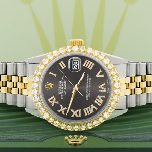 Rolex Datejust 36mm 2-Tone WATCH with 3.10ct Diamond Bezel/Rhodium Grey Diamond Roman Dial