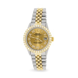 Rolex Datejust 36mm 2-Tone WATCH with 3.10ct Diamond Bezel/Champagne Diamond Jubilee Roman Dial