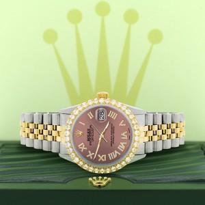 Rolex Datejust 36mm 2-Tone WATCH with 3.10ct Diamond Bezel/Salmon Diamond Roman Dial