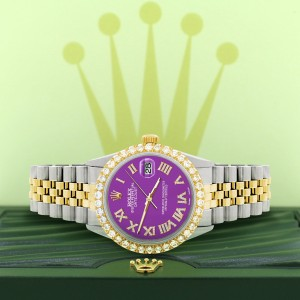 Rolex Datejust 36mm 2-Tone WATCH with 3.10ct Diamond Bezel/Sangria Diamond Roman Dial