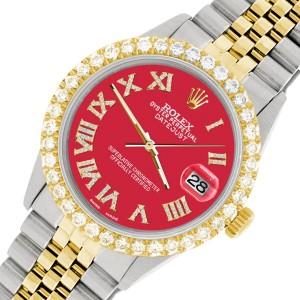 Rolex Datejust 36mm 2-Tone WATCH with 3.10ct Diamond Bezel/Scarlet Red Diamond Roman Dial