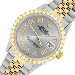 Rolex Datejust 36mm 2-Tone WATCH with 3.10ct Diamond Bezel/Silver Diamond Roman Dial