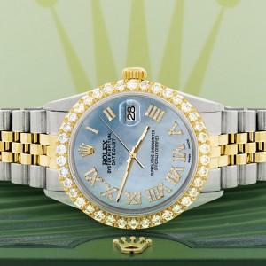 Rolex Datejust 36mm 2-Tone WATCH with 3.10ct Diamond Bezel/Sky Blue MOP Diamond Roman Dial