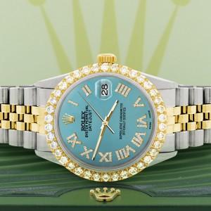 Rolex Datejust 36mm 2-Tone WATCH with 3.10ct Diamond Bezel/Turquoise Diamond Roman Dial