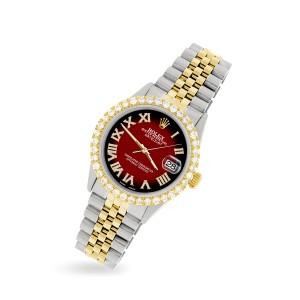 Rolex Datejust 36mm 2-Tone WATCH with 3.10ct Diamond Bezel/Vignette Red Black Diamond Roman Dial