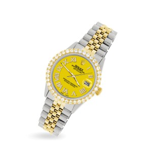 Rolex Datejust 36mm 2-Tone WATCH with 3.10ct Diamond Bezel/Yellow Diamond Roman Dial