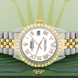 Rolex Datejust 36mm 2-Tone WATCH with 3.10ct Diamond Bezel/White Diamond Roman Dial