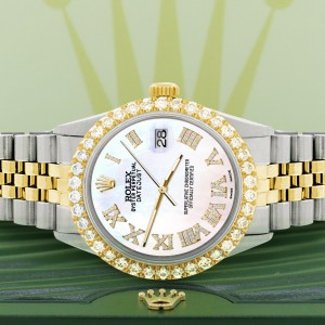 Rolex Datejust 36mm 2-Tone WATCH with 3.10ct Diamond Bezel/White Pearl Diamond Roman Dial