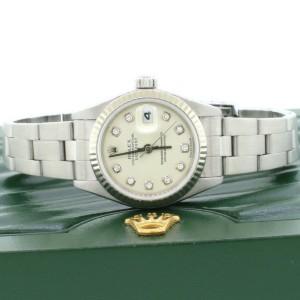 Rolex Datejust 18K Gold/Steel Factory Silver Diamond Dial 26mm Watch 79174