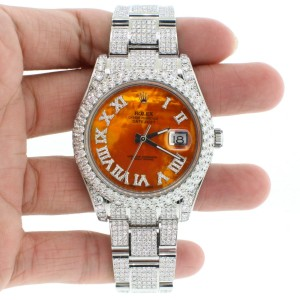 Rolex Datejust II Steel Orange MOP Roman Dial 41mm Diamond Watch Box Papers 116300