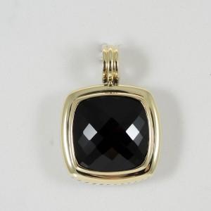 David Yurman Sterling Silver 18K Yellow Gold Black Onyx Pendant