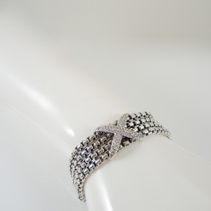 David Yurman Sterling Silver Chain Pave Diamond Bracelet
