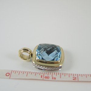 David Yurman Sterling Silver 18K Yellow Gold Blue Topaz Albion Enhancer